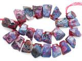 Fuchsia Pink Agate Slab Gemstone Beads 20-36mm (AS1088)