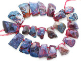 Fuchsia Pink Agate Slab Gemstone Beads 20-40mm (AS1089)