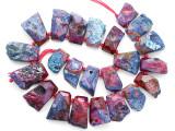 Fuchsia Pink Agate Slab Gemstone Beads 22-35mm (AS1090)