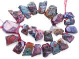 Fuchsia Pink Agate Slab Gemstone Beads 24-42mm (AS1091)