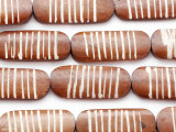 Brown Carved Oval Bone Beads 34-36mm (B1378)