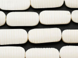 Natural White Carved Oval Bone Beads 34-36mm (B1381)