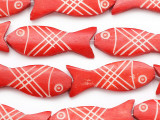 Red Fish Carved Bone Beads 44-46mm (B1382)