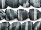 Black Heart Carved Bone Beads 26-30mm (B1388)