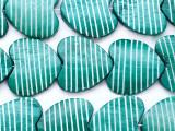Teal Heart Carved Bone Beads 26-30mm (B1390)