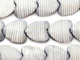 Gray Heart Carved Bone Beads 26-30mm (B1391)