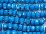 Blue Irregular Round Carved Bone Beads 10-12mm (B1398)