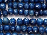 Dark Blue Irregular Round Carved Bone Beads 8-10mm (B1408)