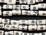 White Cylinder Carved Bone Beads 10-12mm (B1411)