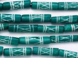 Teal Tube Carved Bone Beads 20-22mm (B1420)