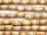 Tan Cylinder Carved Bone Beads 9-12mm (B1425)
