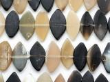 Pointed Oval Tabular Water Buffalo Horn Beads 22-32mm (HN92)