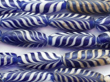Blue & White Feather Glass Beads 24-30mm (JV1356)
