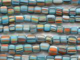 Light Blue w/Multi-Color Stripes Glass Beads 4-8mm (JV1358)