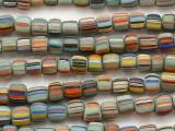 Seafoam Green w/Multi-Color Stripes Glass Beads 5-7mm (JV1361)