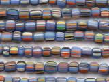 Blue w/Multi-Color Stripes Glass Beads 5-7mm (JV1363)