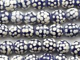 Cobalt Blue w/White Dots Glass Beads 12mm (JV1364)