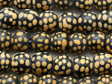 Black w/Yellow Dots Glass Beads 12-14mm (JV1366)