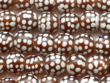 Transparent Brown w/White Dots Glass Beads 12-14mm (JV1367)