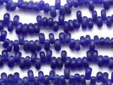 Cobalt Blue Oval Teardrop Glass Beads 10mm (JV1369)