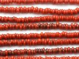 Red Orange Irregular Rondelle Glass Beads 3-4mm(JV1379)