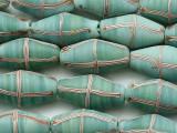 Seafoam Green w/Stripes Bicone Glass Beads 23-26mm (JV1384)