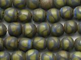 Black & Green Round Glass Beads 10-12mm (JV1386)