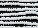 White Rondelle Glass Beads 6-7mm (JV1387)