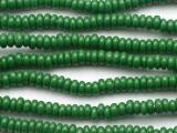 Green Rondelle Glass Beads 6-7mm (JV1394)