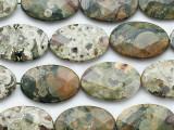 Rhyolite Faceted Oval Tabular Gemstone Beads 30mm (GS5266)