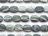 Matte Green Silver Line Jasper Rounded Rectangle Gemstone Beads 10mm (GS5303)