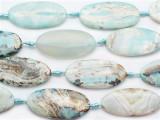 Aqua Agate Oval Tabular Gemstone Beads 48-50mm (GS5320)