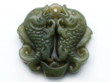 Carved Jade Gemstone Pendant 51mm (GSP3734)