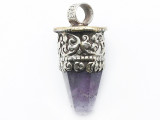 Amethyst & Silver Tibetan Pendant 51mm (TB623)
