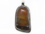 Carnelian & Silver Foot Tibetan Pendant 39mm (TB634)