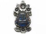 Labradorite & Silver Buddha Tibetan Pendant 66mm (TB639)