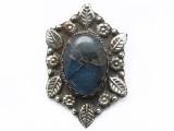 Labradorite & Silver Tibetan Pendant 58mm (TB641)