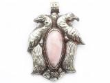 Pink Opal & Silver Tibetan Pendant 65mm (TB642)