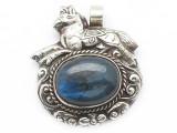 Labradorite & Silver Tibetan Pendant 48mm (TB650)
