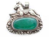 Green Agate & Silver Tibetan Pendant 46mm (TB651)
