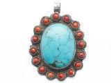 Turquoise, Coral & Silver Tibetan Pendant 70mm (TB659)