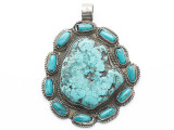 Turquoise & Silver Tibetan Pendant 70mm (TB660)