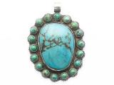 Turquoise & Silver Tibetan Pendant 75mm (TB661)