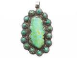 Turquoise & Silver Tibetan Pendant 76mm (TB662)