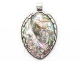 Abalone Shell & Silver Tibetan Pendant 70mm (TB674)