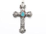 Silver Cross w/Turquoise Inlay Tibetan Pendant 95mm (TB678)