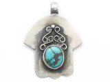 Silver Hamsa w/Turquoise Inlay Tibetan Pendant 41mm (TB681)