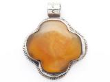 Amber & Silver Tibetan Pendant 51mm (TB687)
