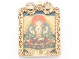 Brass Frame Tibetan Pendant 56mm (TB691)