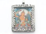 Silver Frame Tibetan Pendant 57mm (TB692)